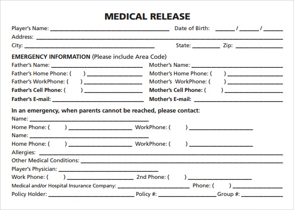 Sample Medical Release Form   Free Documents In Pdf Word