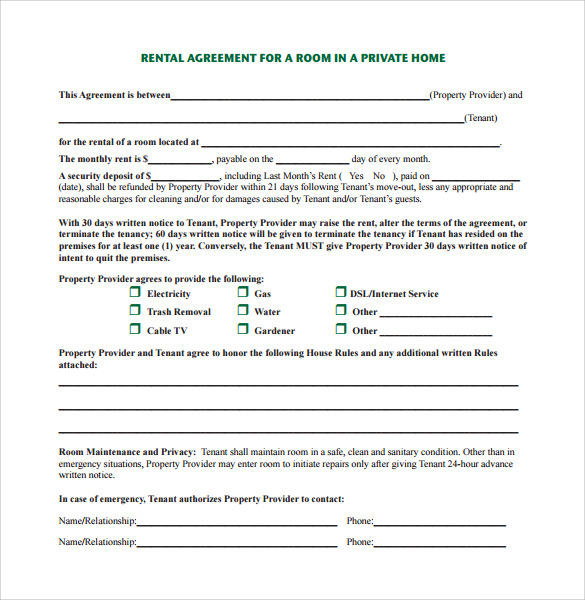Sample Home Rental Agreement 6 Documents in PDF – Home Maintenance Services Agreement