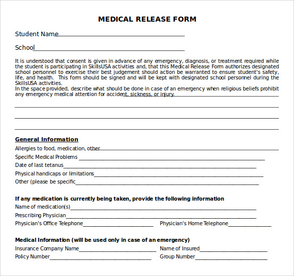 sample medical release form 10 free documents in pdf word