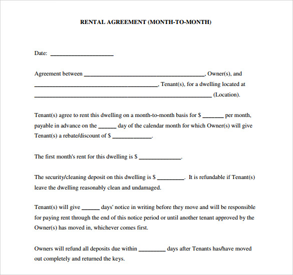 Sample Home Rental Agreement 6 Documents in PDF – House Rental Agreements Templates