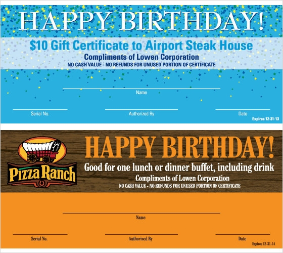 Sample Birthday Gift Certificate Template 7 Download
