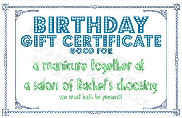 Sample Birthday Gift Certificate Template   Download Documents