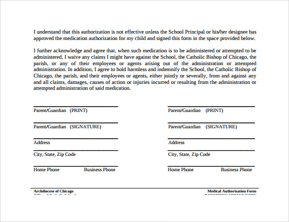 Sample Medical Authorization Form   Download Free Documents In Pdf