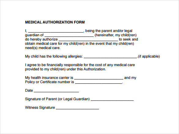 Medical Authorization Form Example