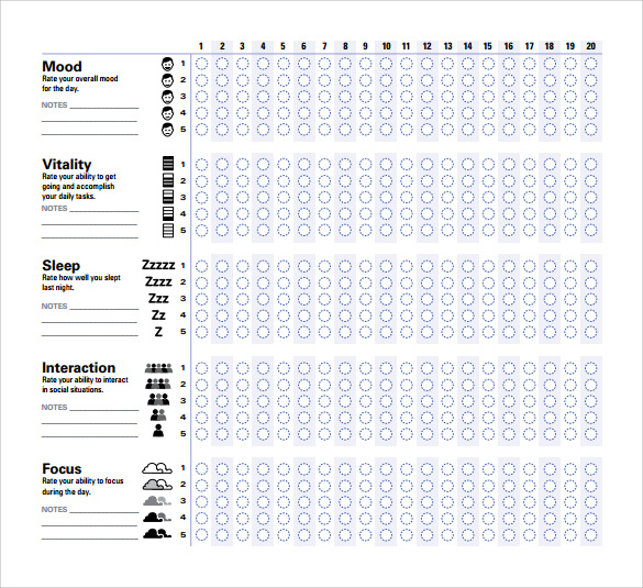 Sample Mood Chart Forms   Download Free Documents In Pdf  Word