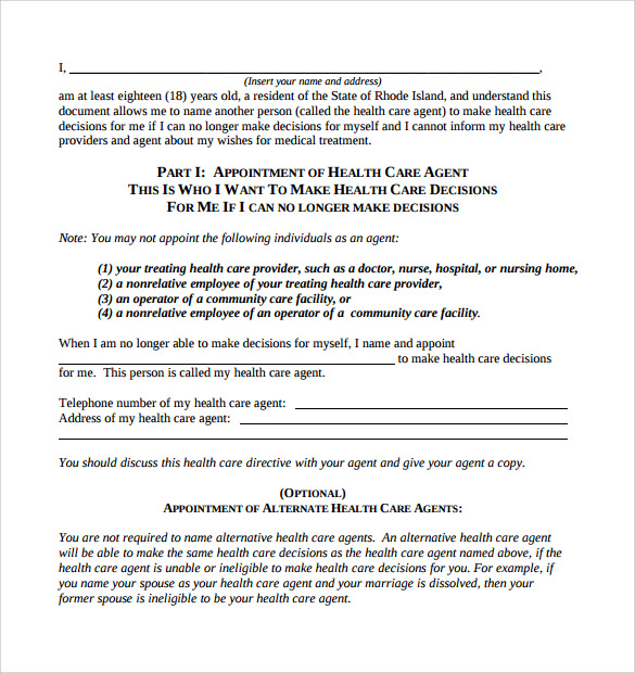 Medical Power Of Attorney Form Template