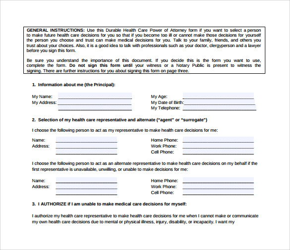 Sample Medical Power Of Attorney Form   Download Free