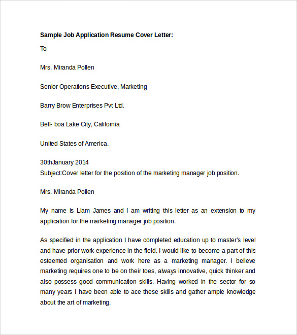 Job Application Letter Sample And Resume