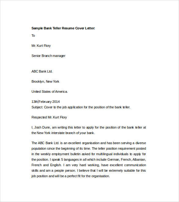bank teller sample cover letter