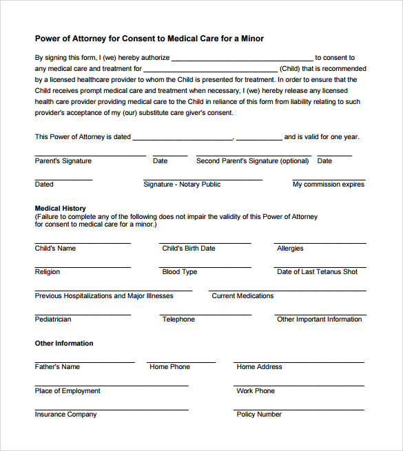 consent for medical treatment of a minor form 15 sample power of attorney form templates to 19156