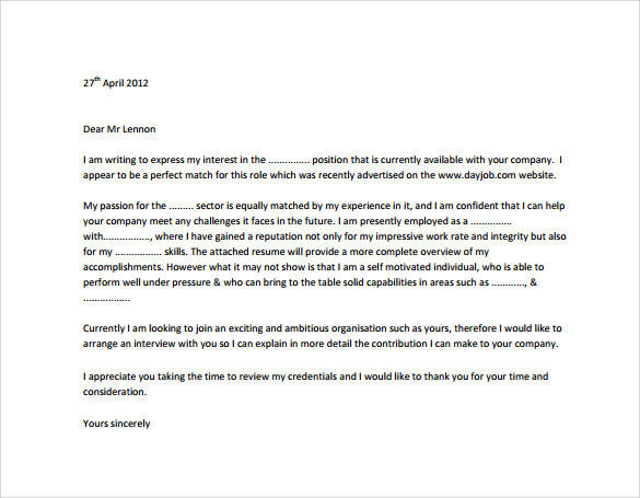 Sample Professional Cover Letter   Documents Download In Pdf  Word