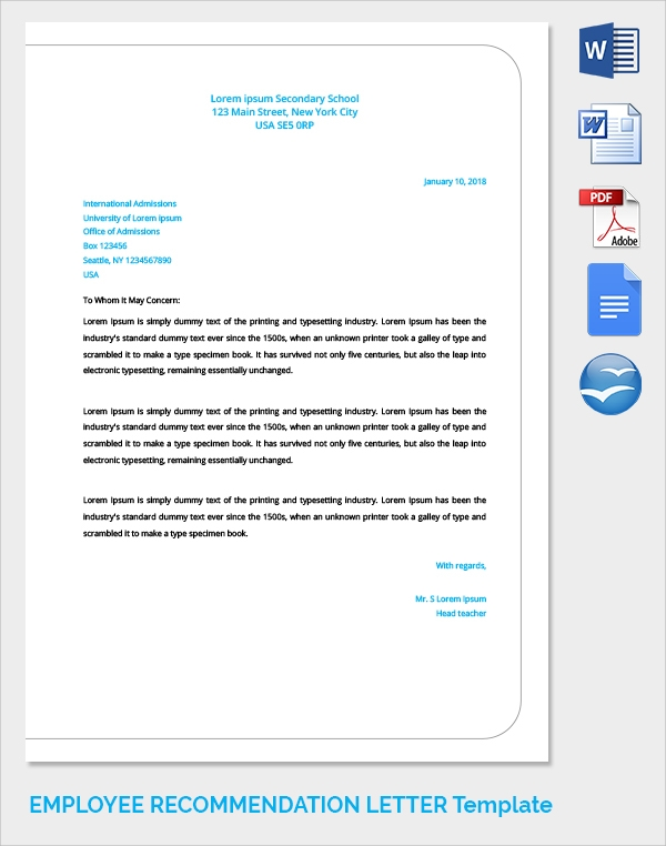 standard employee recommendation letter template