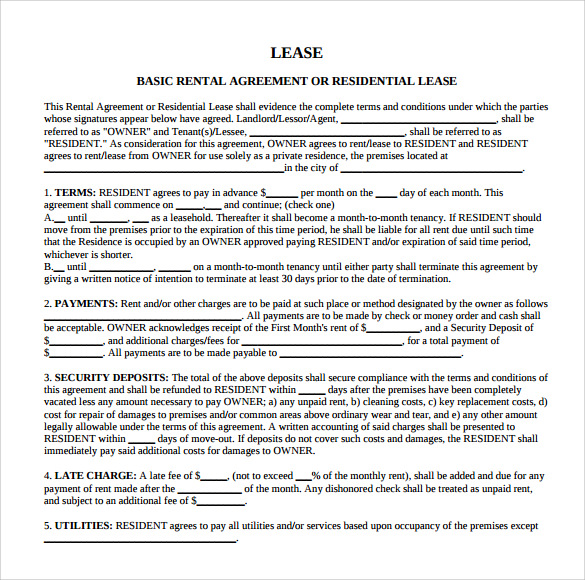 Sample Residential Rental Agreement 9 Documents in PDF – Sample Residential Lease Agreement Template