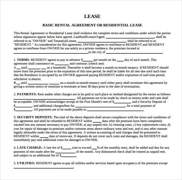 basic rental lease agreement