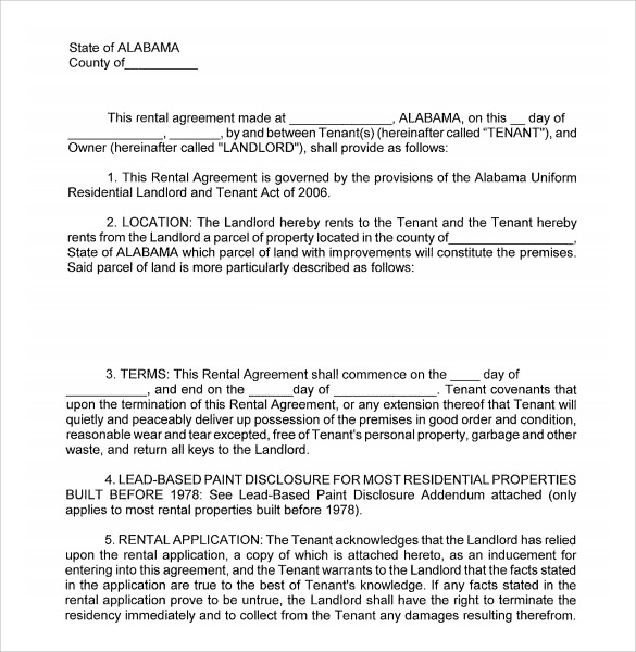 free rental agreement