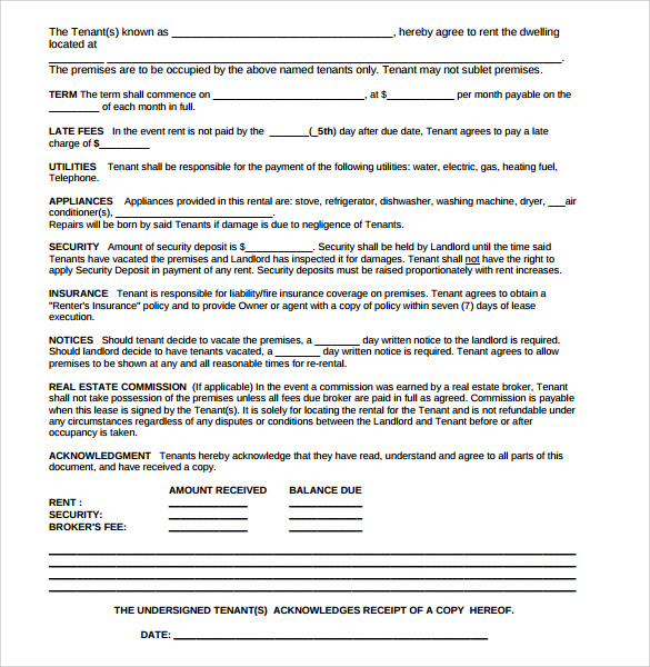 residential rental agreement template pdf