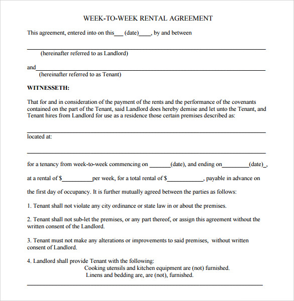 sample residential rental agreement