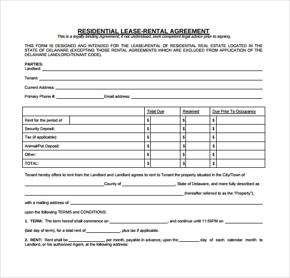 residential rental agreement download