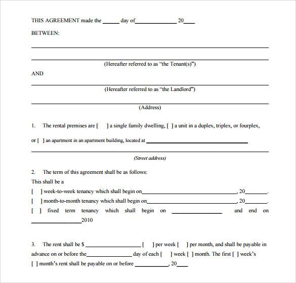 residential house rental agreement