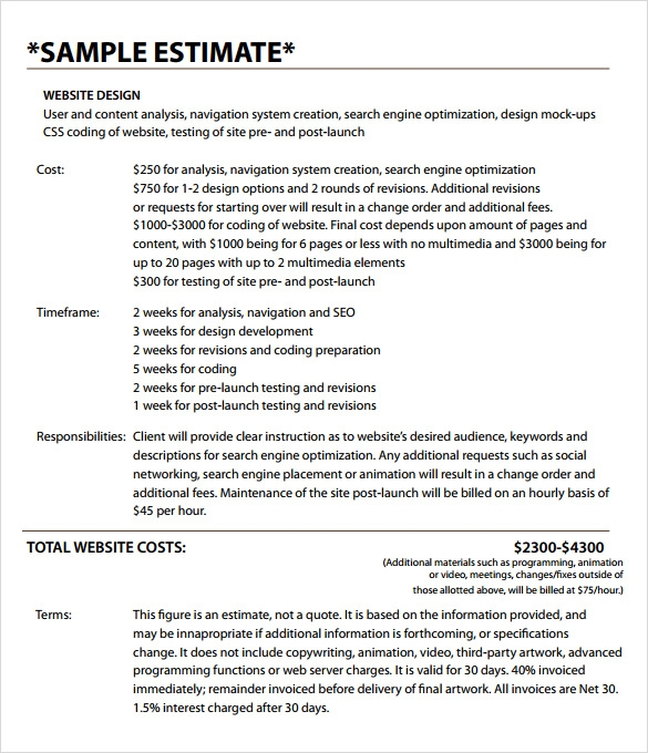 sample estimate invoice template