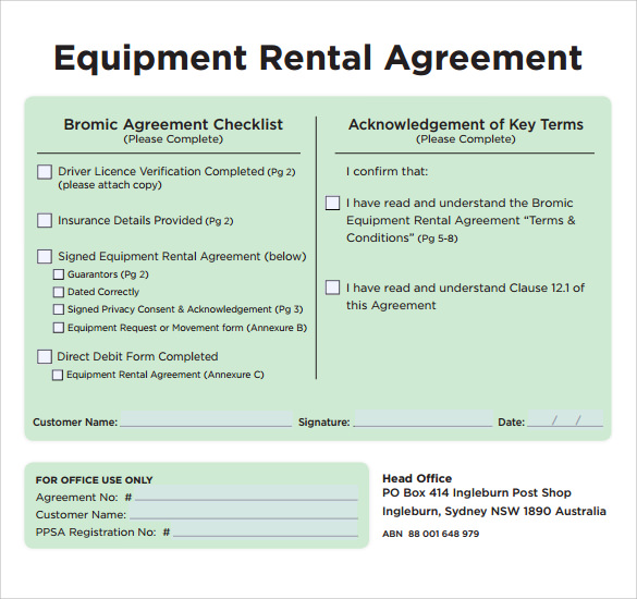 Sample equipment rental agreement template 9 free for Equipment hire form template