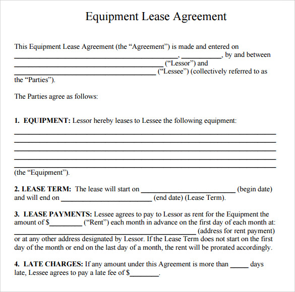 Sample Equipment Rental Agreement Template 8 Free Documents in – Equipment Lease Form