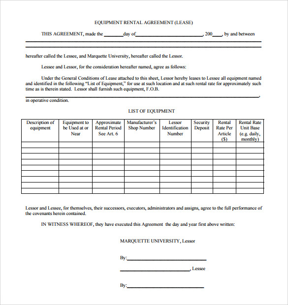 Sample Equipment Rental Agreement Template 8 Free Documents in – Equipment Lease Form Template