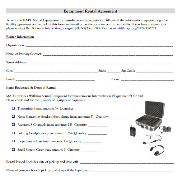 Sample Equipment Rental Agreement Template 8 Free Documents in – Rental Agreement Form Template
