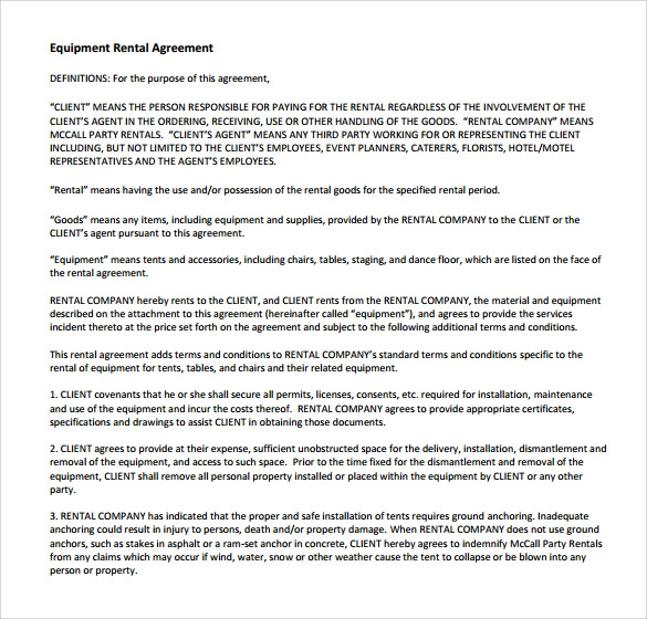 Sample Equipment Rental Agreement Template 8 Free Documents in – Equipment Rental Agreement