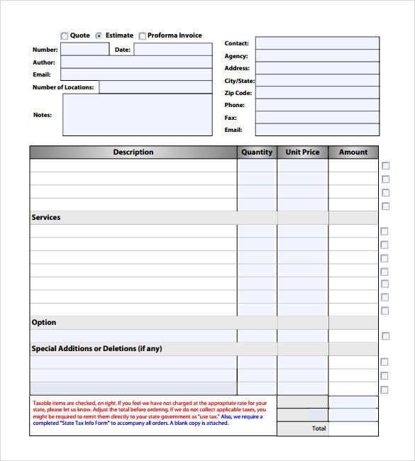 Sample Estimate Invoice Template   Download Documents In Pdf Word