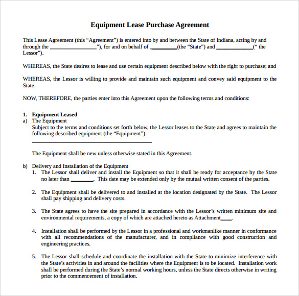 Sample Equipment Rental Agreement Template 8 Free Documents in – Shipping Schedule Template