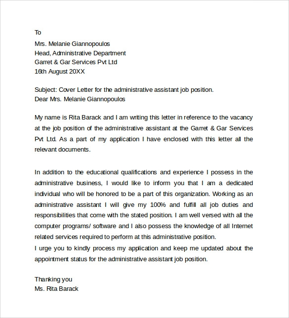 Sample Administrative Assistant Cover Letter Template - 8+ Free