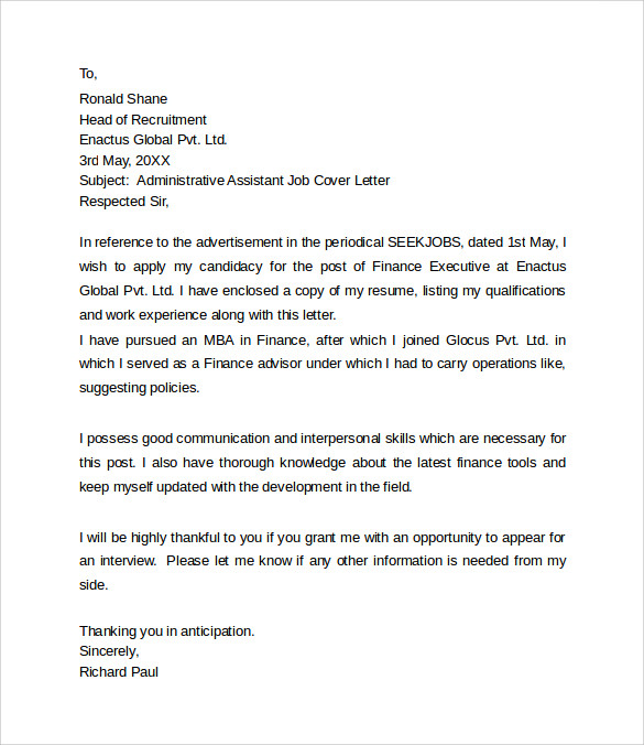 assistant finance officer cover letter