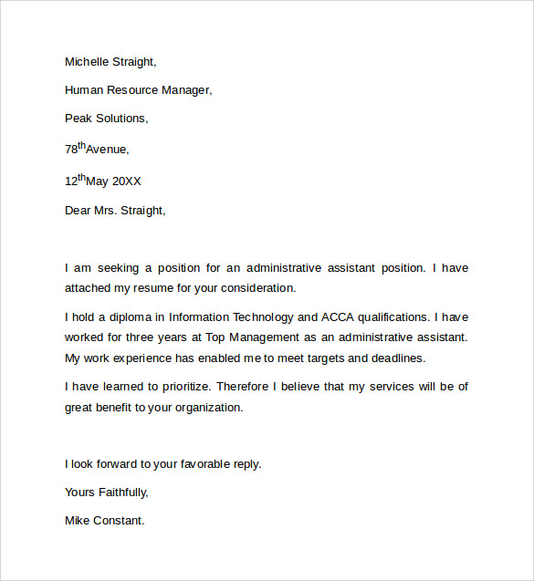 8 sample administrative assistant cover letter templates for Samples of cover letters for administrative assistant