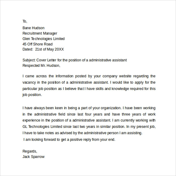 simple administrative assistant cover letter