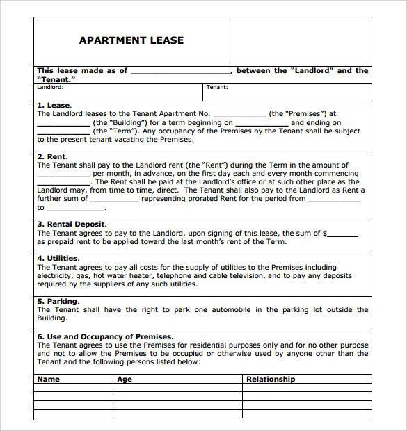 apartment lease agreement template word - Comingoutpoly.co