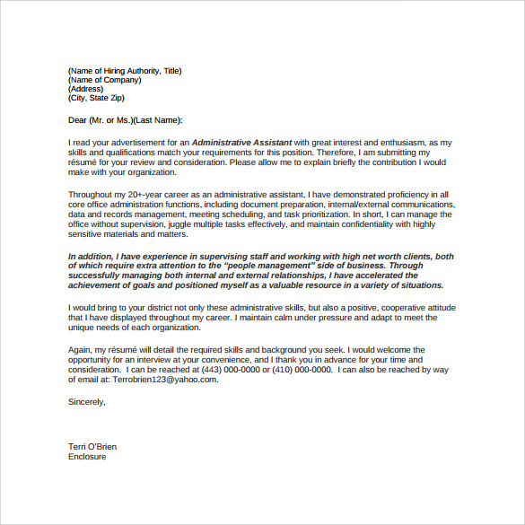 Sample Cover Letter Admin. COVER LETTER FOR ADMINISTRATIVE ...