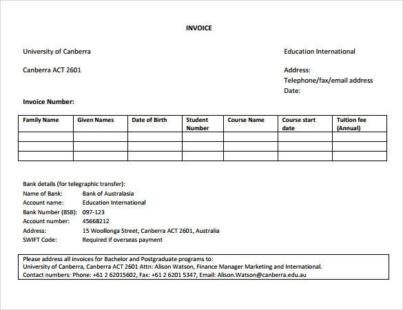 education invoice template example
