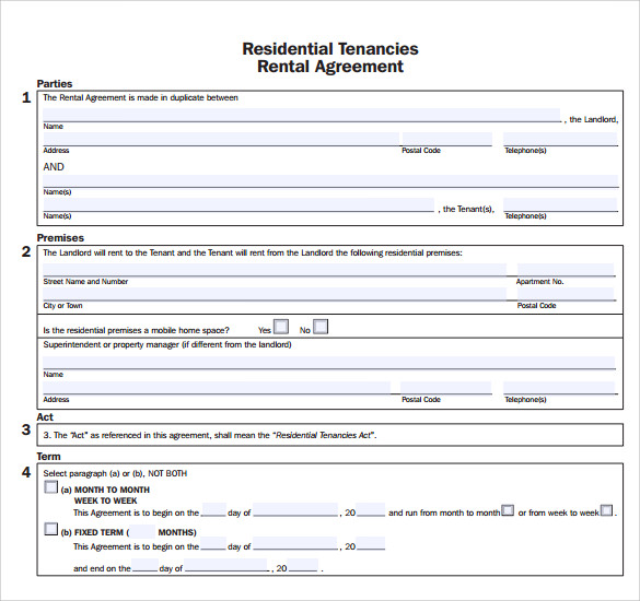Rent Lease Apartment: Sample Apartment Rental Agreement Template