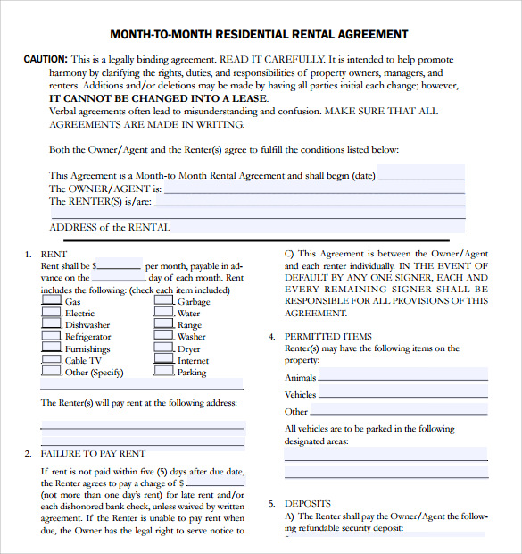 7 apartment rental agreement templates sample templates for Housing lease template