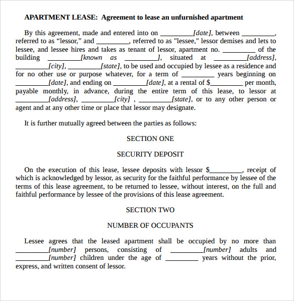 Sample Apartment Rental Agreement Template 6 Free Documents in – Agreement Template Word