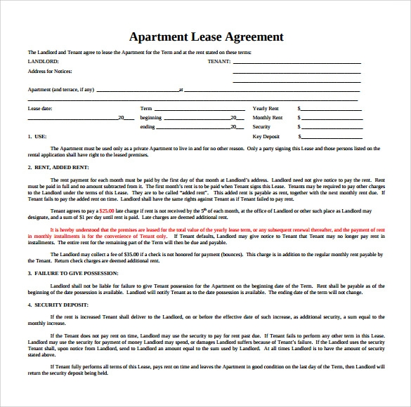 Sample Apartment Rental Agreement Template 6 Free Documents in – Sample Apartment Lease Agreement Template