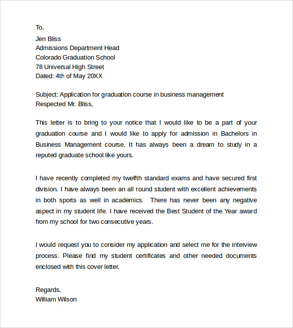 Graduate School Application Cover Letter  Graduate School Cover Letter