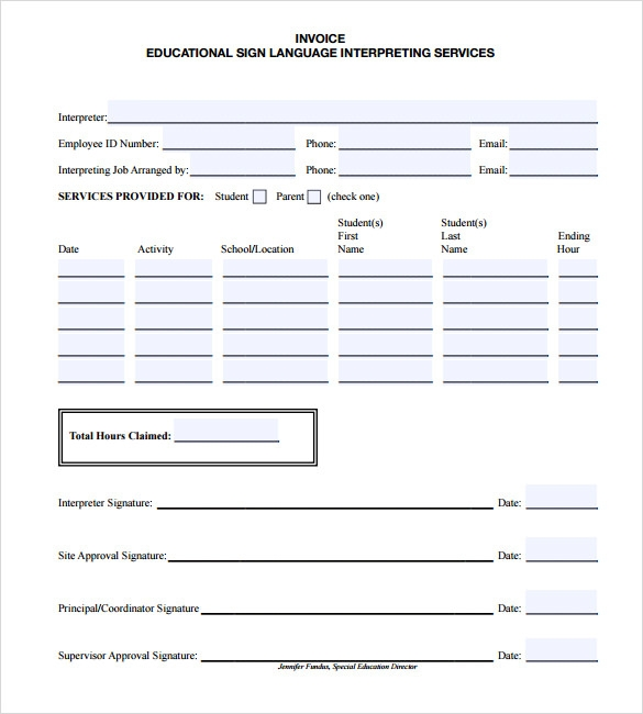 Sample Education Invoice Template 7 Free Documents Download in PDF – Estimate Invoice Template