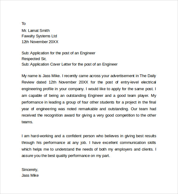 Sample Application Cover Letter Templates - 8+ Free ...