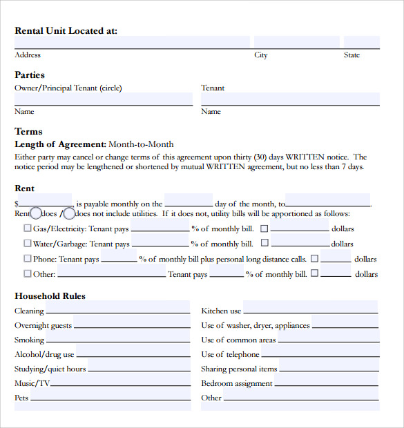 Room Rental Agreement - 9+ Download Free Documents In Pdf , Word