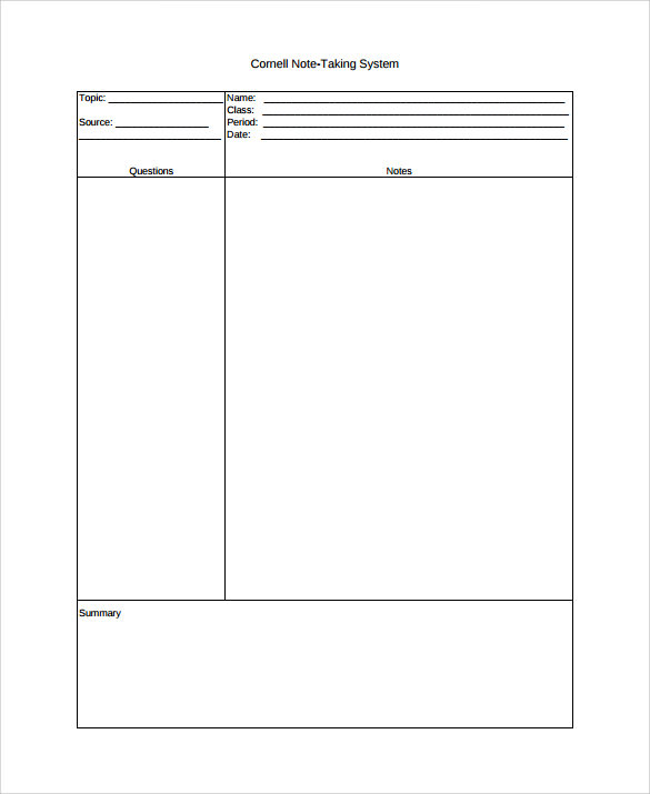 Sample Cornell Note Taking Template 8 Free Documents In PDF Word – Cornell Note Pdf