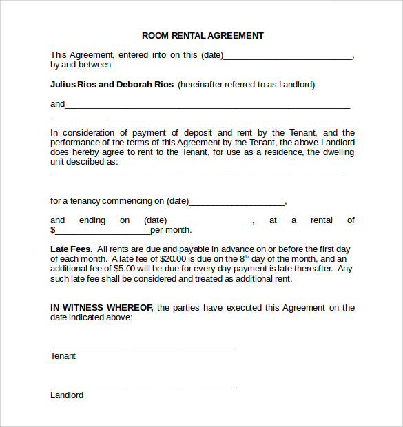 18 room rental agreements to download for free sample for Renting contract template