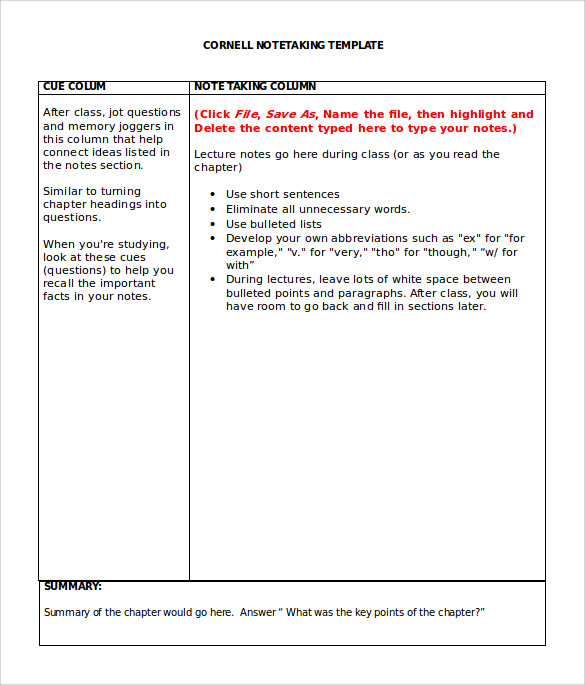 Sample Cornell Note Taking Template 8 Free Documents In PDF Word – Note Taking Template Word