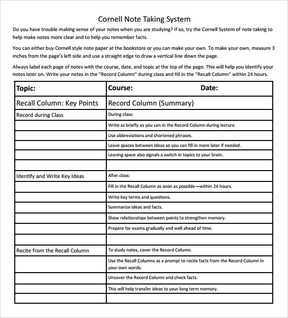 Sample Cornell Note Taking Template   Free Documents In Pdf Word